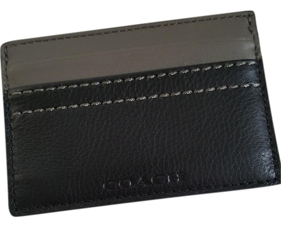 Coach black new mens leather card case business card holder grey coach new coach mens leather card case business card holder grey black colourmoves