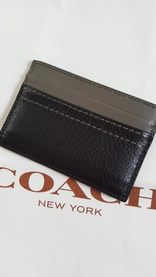 Coach Black New Men\'s Leather Card Case Business Card Holder Grey ...