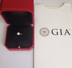 Cartier Cartier Diamond Platinum Round Solitaire Ring 0.56 Ctw Certificate Box 48