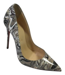 Christian Louboutin Marbled Grey Patent Leather Black Pumps