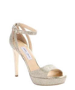 Jimmy Choo Kayden Lame Glitter Fabric Platform Sandals Wedding Shoes