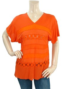 Jean-Paul Gaultier Sheer Cut-out V-neck Silk T Shirt Orange