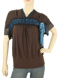 Jean-Paul Gaultier Bow Velvet Tulle V-neck Rayon Top Brown, Blue