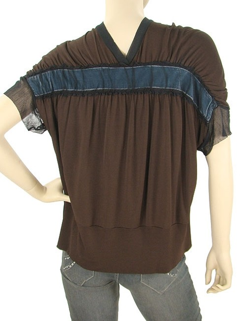Jean-Paul Gaultier Jersey Bow Velvet Tulle V-neck Rayon Top Brown, Blue