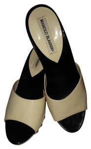 Manolo Blahnik Patent Patent Leather Black and White Mules