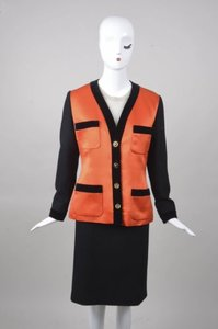 Chanel Vintage Chanel Blackorange Satin Panel Knit Skirt Suit