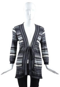 M Missoni Cream Black Metallic Detail Open Knit Tie Cardigan Jacket Sweater