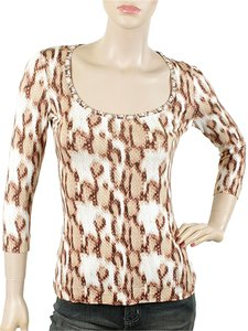 Just Cavalli Animal Print Leopard Print Top White, Brown, Beige