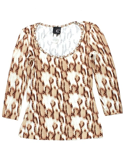 Just Cavalli Animal Print Leopard Print Fitted Stretchy Top White, Brown, Beige