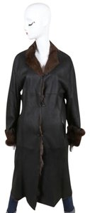Other Sylvie Schimmel Black Brown Shearling Fur Long Sleeve Coat