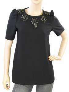 Karta Floral Beaded Wool Crystal Top Black