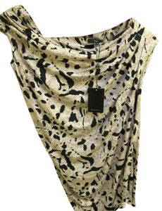 Tart Collections Asymmetric Animal Print Top tan and black