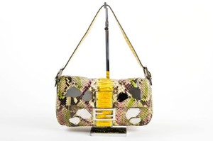 Fendi Limited Edition Python Leather Mirrors Handbag Baguette