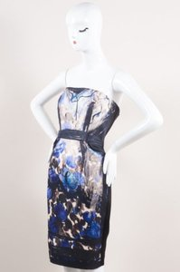 Lanvin Black Multicolor Knit Silk Blend Printed Strapless Dress