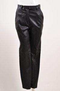 Barbara Bui Lambskin Leather Tapered Leg Trousers Pants