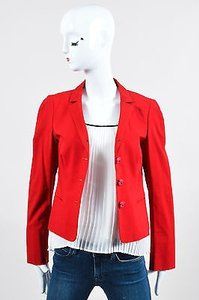 Moschino Moschino Cheap And Chic Red Woven Floral Button Long Sleeve Blazer Jacket