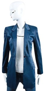 Céline Celine Blue Sateen Long Blazer Jacket