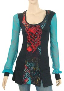 Save The Queen - Legatte Jeans Embroidered Print Turquoise Applique Sheer Tulle Top Blue, Black, Red