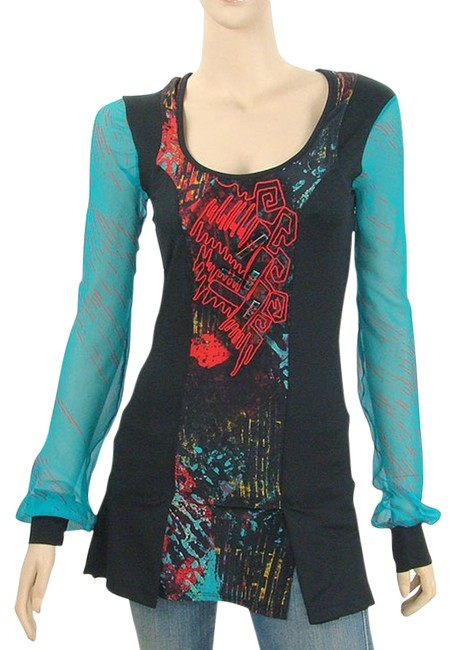 Preload https://item4.tradesy.com/images/blue-black-red-embroidered-print-long-blouse-size-6-s-1105868-0-0.jpg?width=400&height=650