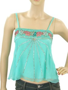Lotta Stensson Empire Waist Embroidered Silk Metallic Sequin Beaded Gold Top Turquiose