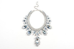 Other Thorin Co. Silver Tone Blue Glass Rhinestone Statement Bib Necklace
