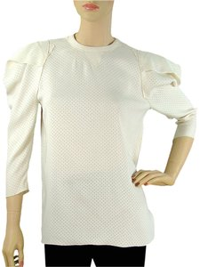 Marc Jacobs Silk Perforated Trumpet Top Ivory, Cream