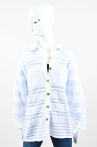 Escada White Mesh Stripe Abstract Print Cardigan Sweater