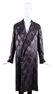 Gucci Dark Silk Printed Long Purple Jacket