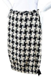 Chanel 04a Cream Black Checkered Tweed Bow Bubble Skirt Multi-Color