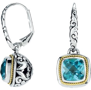Designer Sterling Silver 18k Gold Filigree Swiss Blue Topaz Earrings by BrianGdesigns