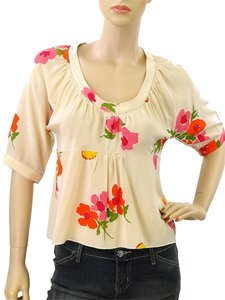 Marni Print Floral Silk Flowy Top Beige, Red, Orange