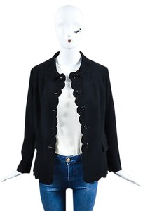 Moschino Moschino Cheap And Chic Black Eyelet Scalloped Long Sleeve Blazer Jacket