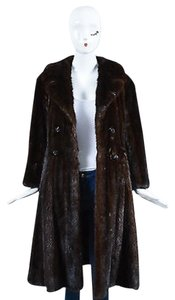 Other Vintage Dark Mink Fur Full Length Long Sleeve Coat Brown Jacket