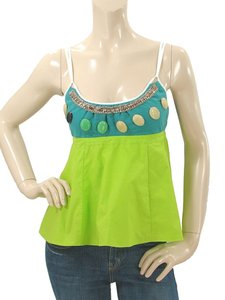 Marni Beaded Crystal Cotton Top Green, Turquoise