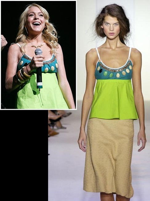 Marni Beaded Crystal Cotton Empire Waist Stone Top Green, Turquoise