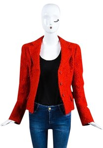 Armani Collezioni Scarlet Mohair And Wool Blend Structured Red Jacket