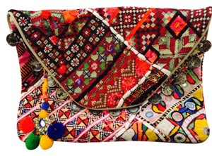 Anthropologie Ethnic Tylie Malibu Red Clutch
