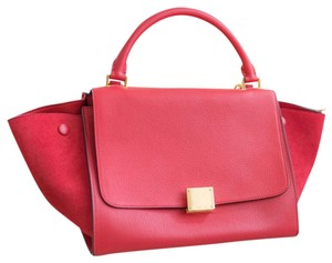 Céline Trapeze Gold Satchel in Red