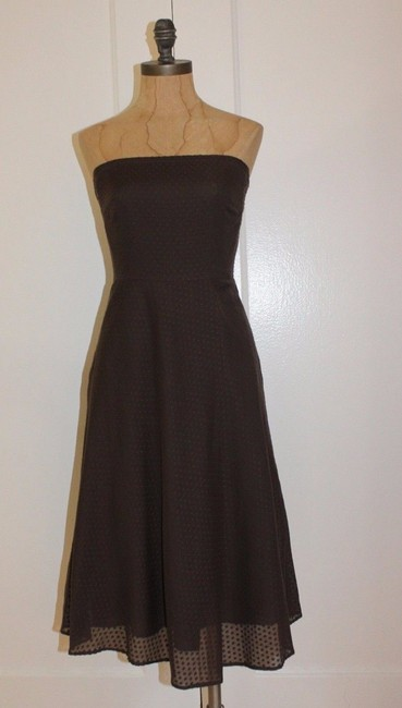 Item - Brown Swiss Dot Strapless Knee Length Mid-length Cocktail Dress Size 0 (XS)