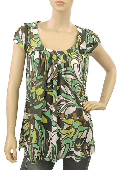 MILLY Floral Print Cotton Top Green