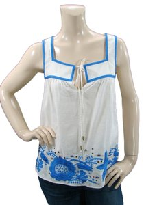 Mint Cotton Two-tone Embroidered Top White, Blue