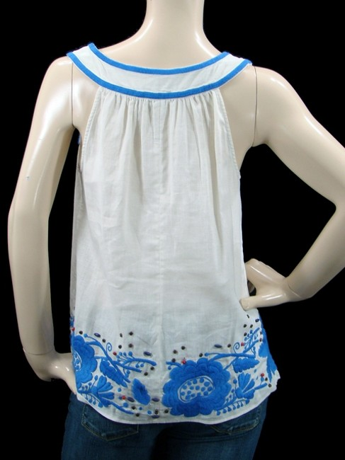 Mint Cotton Two-tone Embroidered Beaded A-line Top White, Blue