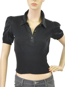 Miu Miu Cotton Knit Satin T Shirt Black