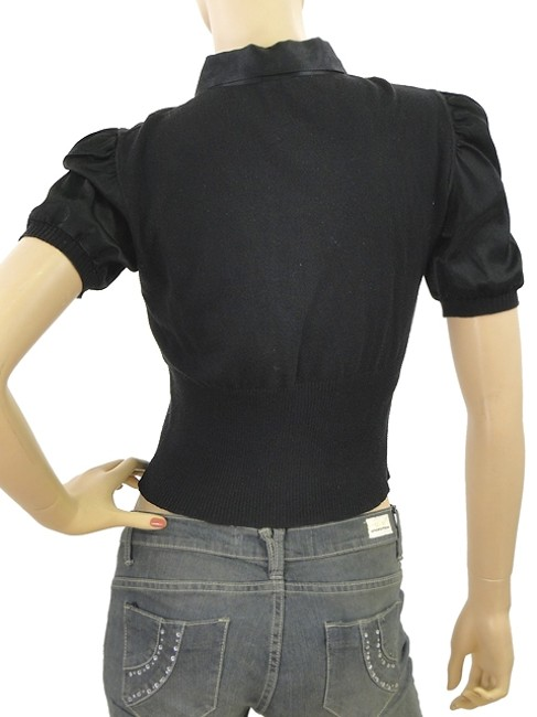 Miu Miu Cotton Knit Sateen Satin T Shirt Black