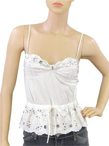 Moschino Cotton Crystal Embellished Top White