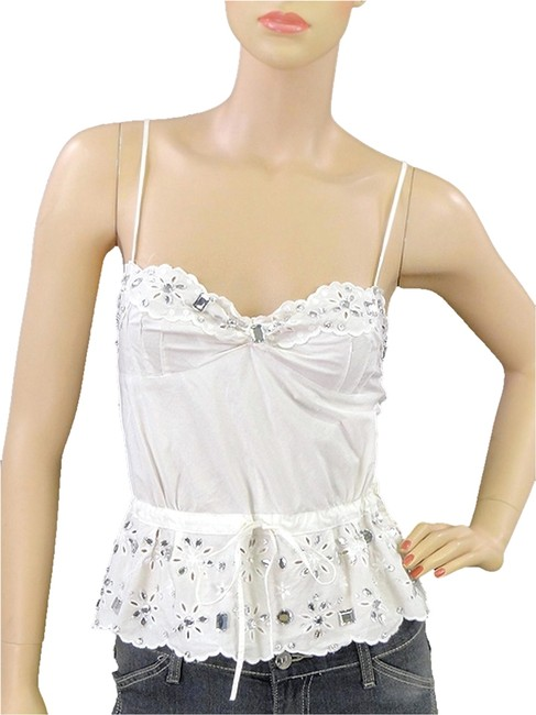 Preload https://item5.tradesy.com/images/moschino-white-cotton-crystal-embellished-tank-topcami-size-2-xs-1106119-0-0.jpg?width=400&height=650