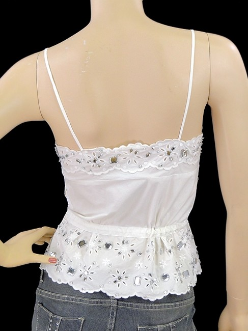 Moschino Cotton Crystal Embellished Embroidered Cut-out Eyelet Top White