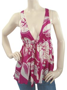 Moschino Cotton Print Floral Halter Top Purple, Ivory