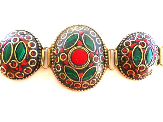 Other New Malachite and Red Coral Inlay Bracelet