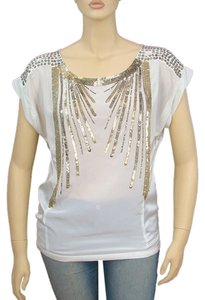 Nanette Lepore Silk Beaded Sequin Top White